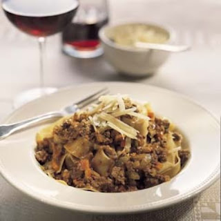 Pappardelle with Rich Meat Sauce (Pasta alla Bolognese).