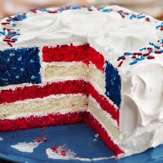 Red, White and Blue Layered Flag Cake.