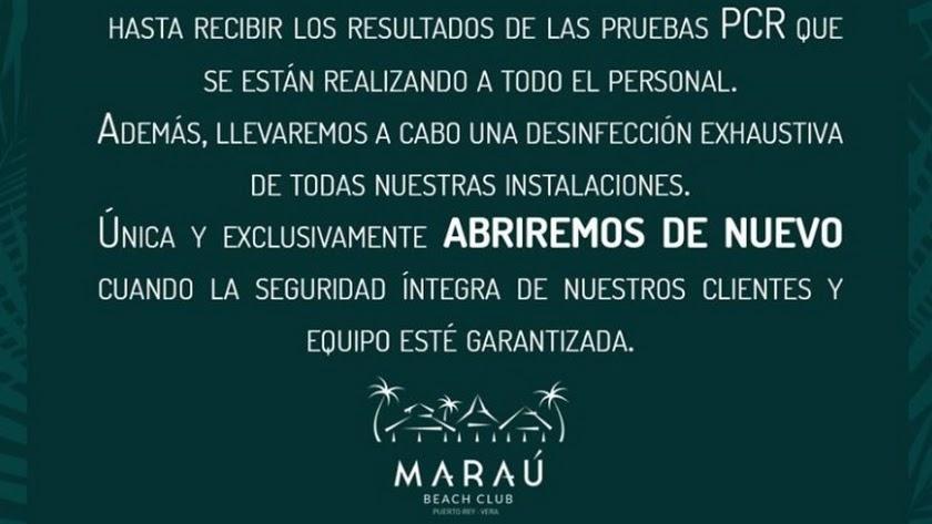Comunicado emitido por Maraú.