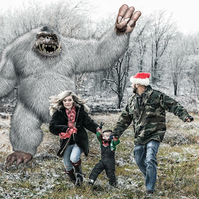 Yeti for Christmas? by Michele Dan - Digital Art People ( scary, family, yeti, abominable snowman, composite )