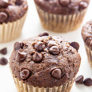 Healthy Double Chocolate Banana Muffins.
