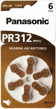 Panasonic PR 312 Hearing Aid Cells - Zinc Air, 6pcs