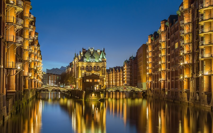 Hamburg by Nikolas Ananggadipa - City,  Street & Park  Neighborhoods ( canon, cityscapes, simple, cityscape, hamburg, glamor, city, glamour, blue sky, germany, night, long exposure, light, river,  )