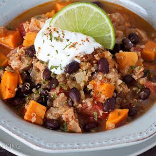 Black Bean Sweet Potato Quinoa Chicken Chili.