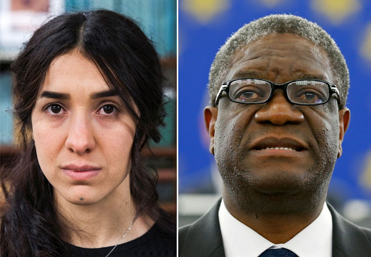 The Nobel Prize for Peace 2018 winners: Yazidi survivor Nadia Murad (left) and Denis Mukwege (right). Picture/ REUTERS/LUCAS JACKSON/VINCENT KESSLER/FILE PHOTOS