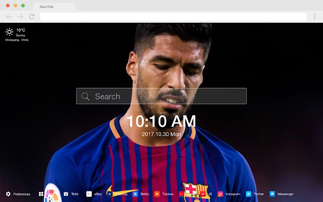 Luis Suarez Barcelona HD New Tab Theme