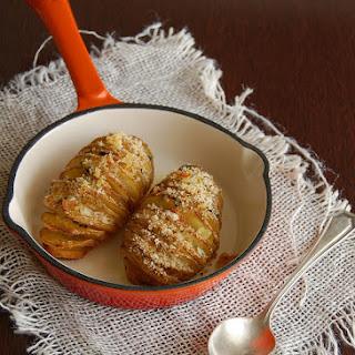 Hasselback Potatoes With Oregano And Lemon Crumbs.