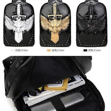 3d 骷髏 十字架皮革背包 (金,銀,黑)