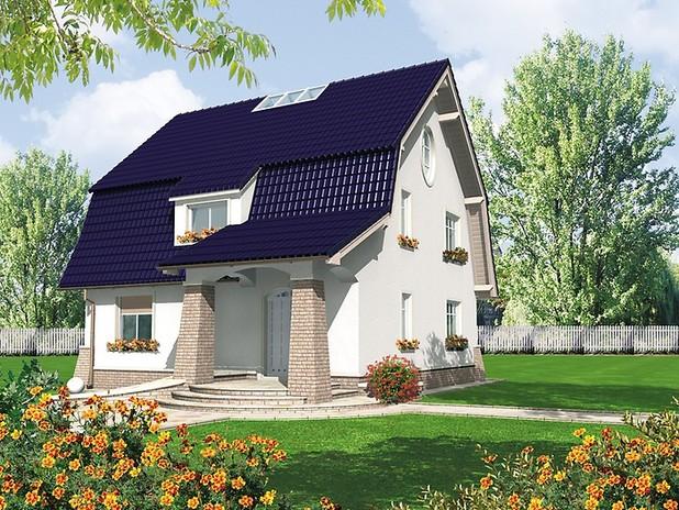 Dom z dachem mansardowym