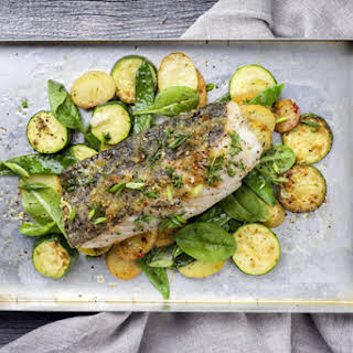 Easy Sheet Pan Baked Fish with Vegetables.
