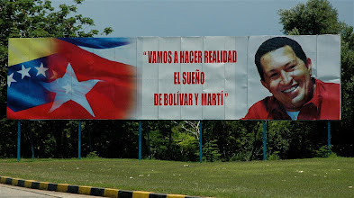 Photo: hugo chavez billboard in cuba. Tracey Eaton photo.