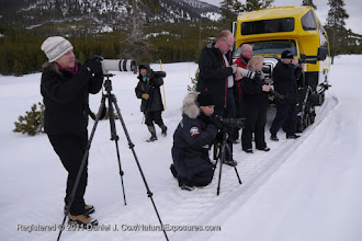 Photo: Our group sets up outside the snow coach along the Madison river for a coyote making working the meadow.