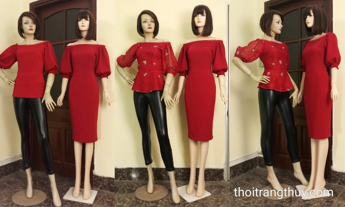 Váy áo tay bồng nữ tính và quyến rũ V669 thời trang thủy
