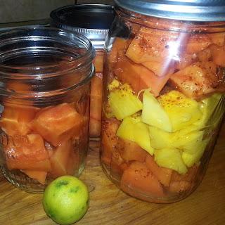 Papaya Mango Salad in a Jar