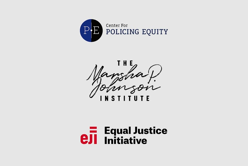 Logos for organizations: Equal  Justice Initiative, Center for Policing Equity,  and Marsha P. Johnson Institute.
