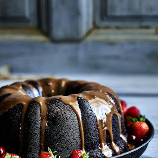 Double Chocolate and Mixed Berry Bundt Cake.