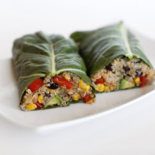 Southwest Quinoa Collard Wraps.