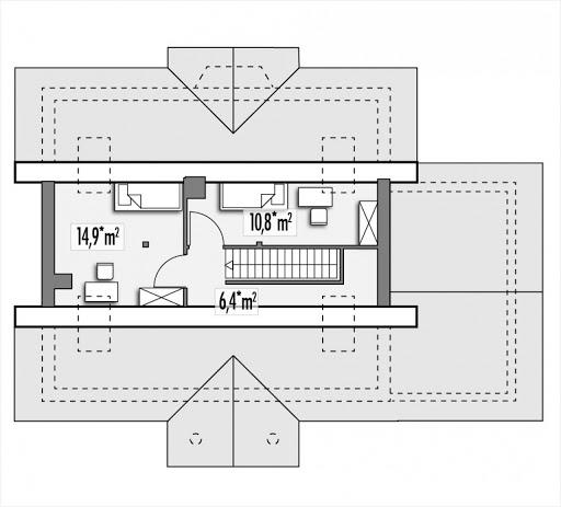 Angela wersja A z pojedynczym garażem z prawej - Rzut poddasza