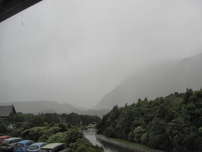 Photo: Here's the view of Mt. Cook from my hotel window on the last afternoon. The rain stopped at some point in the evening, but the next morning it was very blustery, cold, and very rainy. The snow level had dropped to 1400 meters; this was quite visible (the village is at 765m).