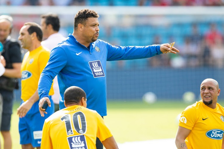 Former brazilian football player Ronaldo gestures prior to the football rematch between Norway and Brazil at Ullevaal Staium in Oslo, Norway June 9, 2018, 20 years after Norway surprisingly defeated Brazil in the 1998 World Cup game in Marseille.