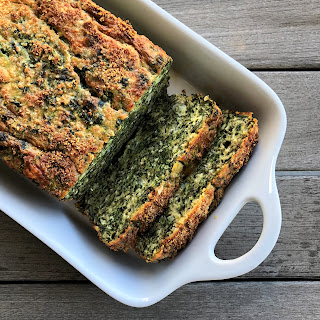 "No-knead Spinach-cheddar Protein ""bread""."