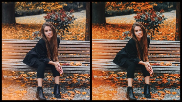 Montagem de uma mulher sentada em um banco, em um dia de outono mostrando a ferramenta Pumpkin do AirBrush.