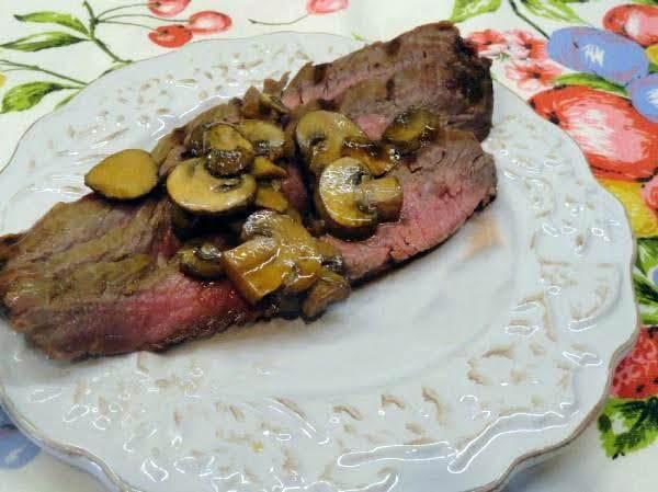 Marinated Flank Steak & Mushrooms Recipe