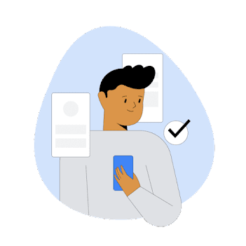 Illustration of a person looking at a phone