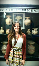 Photo: At the Huaraz museum, with a collection of Recuay ceramics