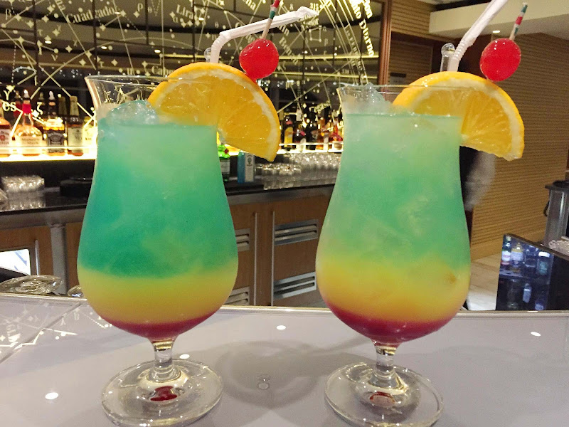 Colorful cocktails served in the Explorers' Lounge on Viking Star.
