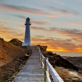 Castlepoint Lighthouse  at Dawn ... by Anupam Hatui - Buildings & Architecture Public & Historical ( building, dawn, colors, lighthouse, landscape, new zealand, histoical,  )
