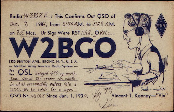 Photo: W2BGO, Vincent T. Kenney made this QSO with W3BZE Tom Jones (K4JM) in Richmond, VA. at 2:30AM on the 80 meter band just hours before the Japanese attached our naval fleet in Pearl Harbor on December 7, 1941. Ham Radio as they knew it then was about to shut down during the WAR years of 1942 - 1945. Ham Radio then became a listening only mode.....