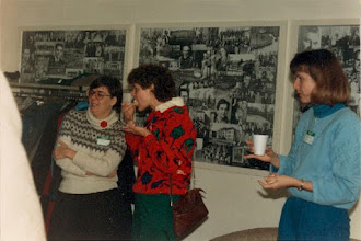 Photo: 1986. APLA-10. University of New Brunswick. Murray Kinloch Souvenir Album, 18  (left to right) Stephanie Inglis, Donna Atkinson, Alison Sollows-Astle  Photograph by Jean Kinloch, caption by Murray Kinloch