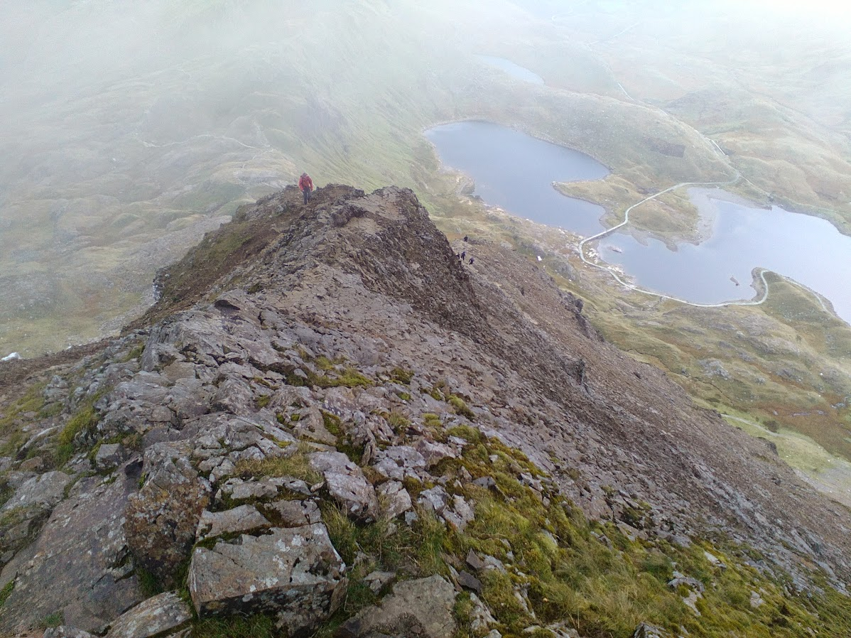 Crib Goch east ridge from the top
