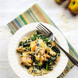 One Pan Meal with Italian Chicken Sausage with Leeks, Apples, Kale, and Parmesan.