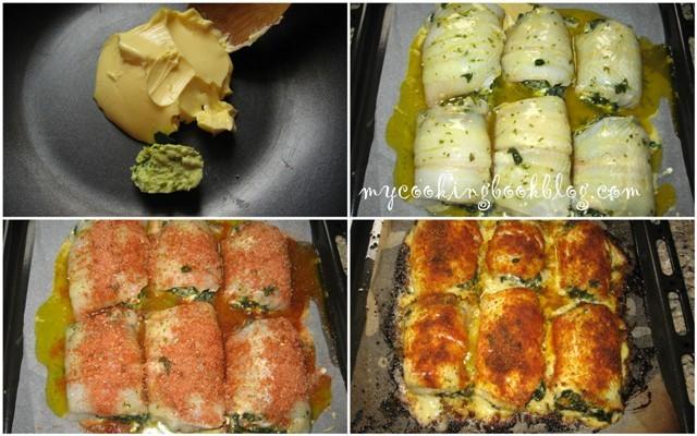 Филе от морски език (Fillet of Sole) пълнено със спанак и сирене Фета