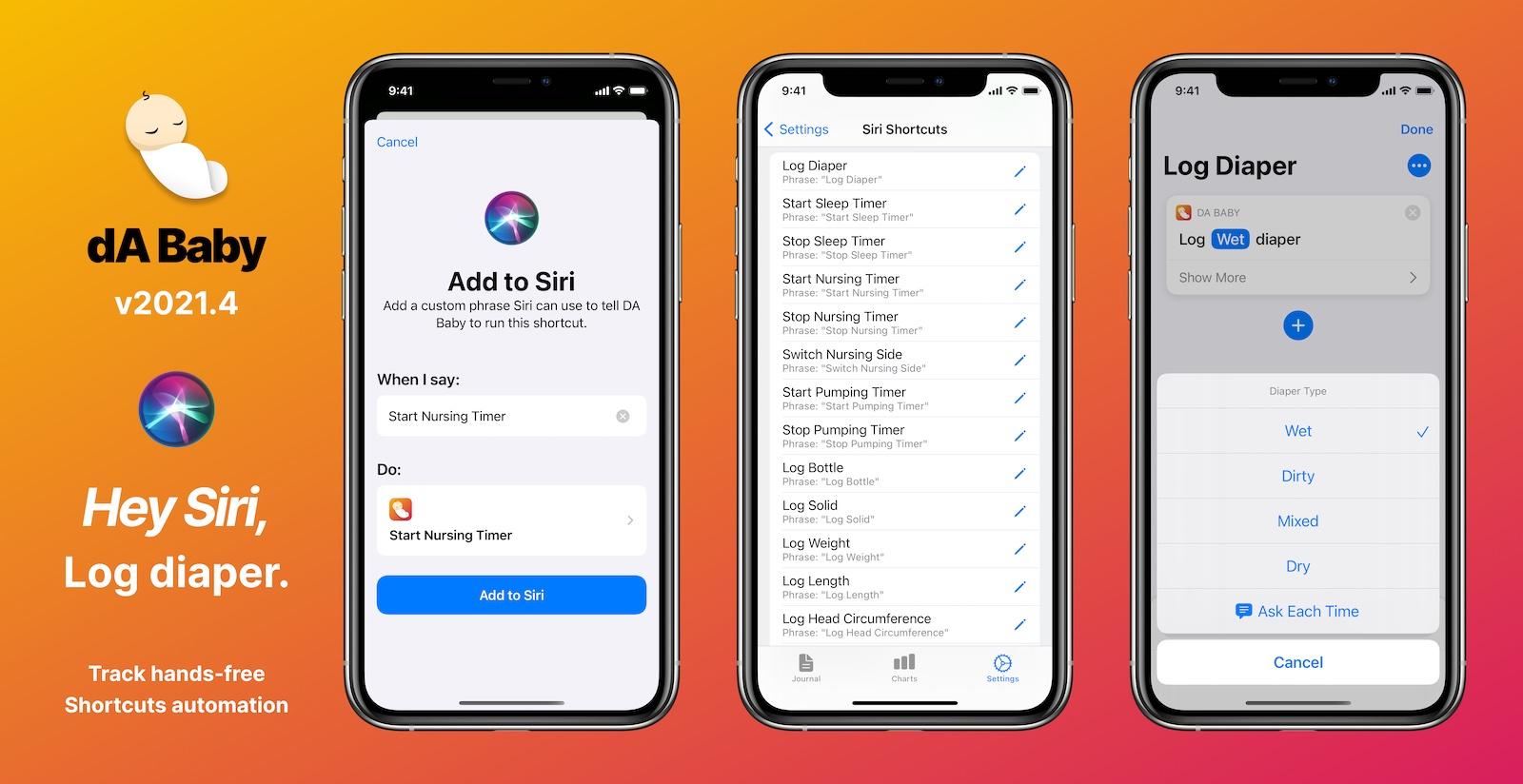 DA Baby v2021.4 adds Siri Shortcuts support