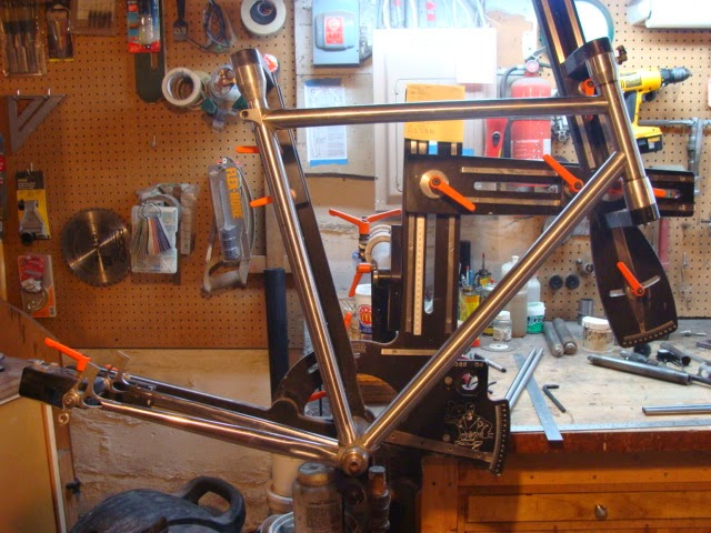 Photo: Main tubes and chainstay mitered and fitted into the fixture.