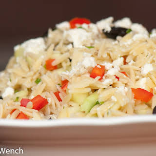 Orzo, Cucumber, Feta Cheese Salad.