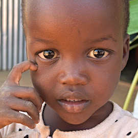 I think, I am. by Marcel Cintalan - Babies & Children Child Portraits ( children, thinker, portrait, uganda, eyes, child )