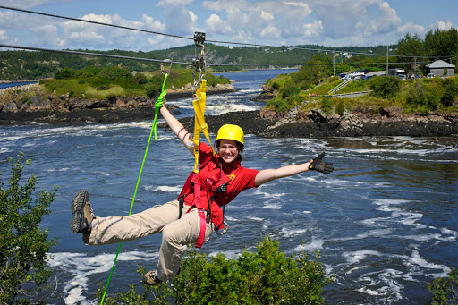 Enjoying a zipline over the St. John River in St. John, New Brunswick, Canada.