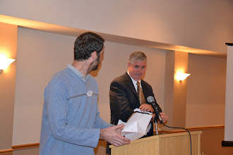 Photo: Membership Chair Adam Moons announced the upcoming bowling social event to be held on November 13th