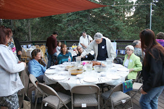Photo: Brand, Noa Caiserman, Yael Caiserman Rosenbloom, Fred Rosenbloom, Sally Cassidy at the front table (Tali Plafkin adn Micha Plafkin at the back center table)