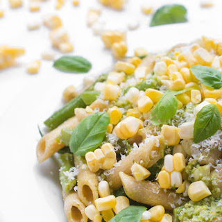Pesto Pasta Salad with Green Beans and Corn