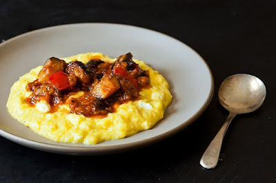 Dinner tonight: Eggplant with sweet corn polenta