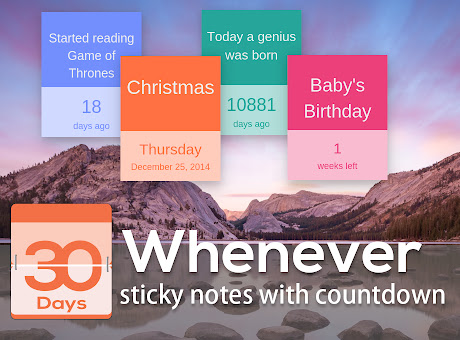 Whenever - sticky notes with countdown