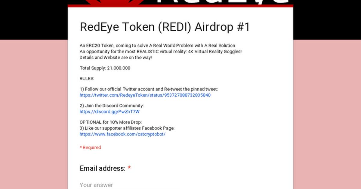 RedEye Token (REDI) Airdrop #1