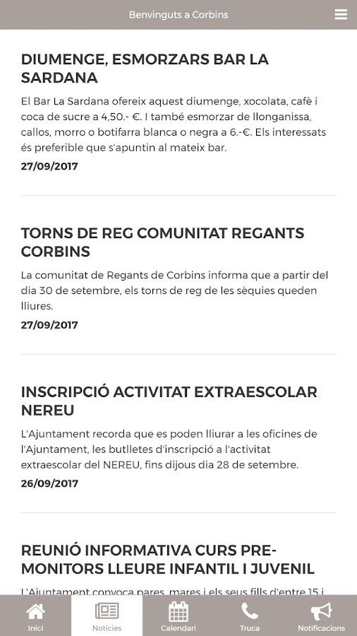 Ajuntament de Corbins- screenshot