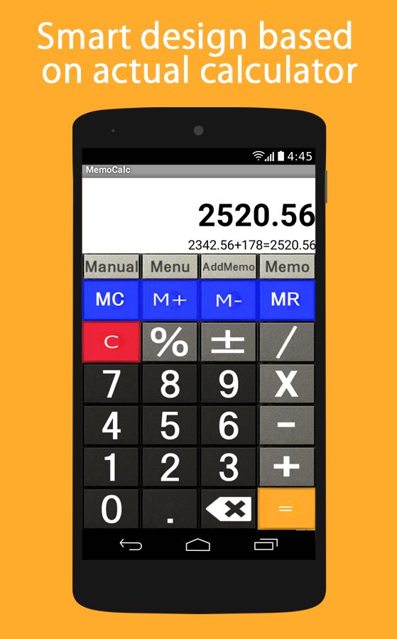 Notes and calculator with history function- screenshot