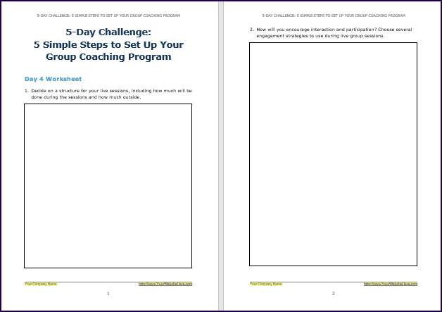 Create Your Group Coaching Program - Challenge Worksheet 4